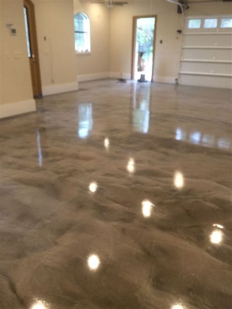 gray white epoxy metallic floor garage pinterest garage flooring acid stained concrete