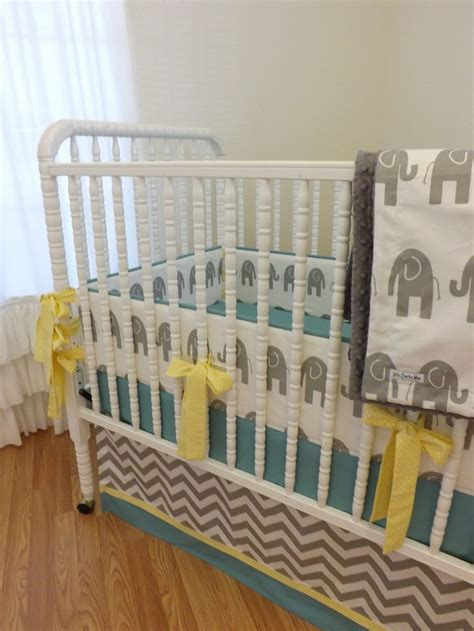 Modern Elephant Crib Bedding Baby Bedding Made To Order 4 Pc Modern Elephant Crib Bedding Set 369 00 Via Etsy Baby Boy