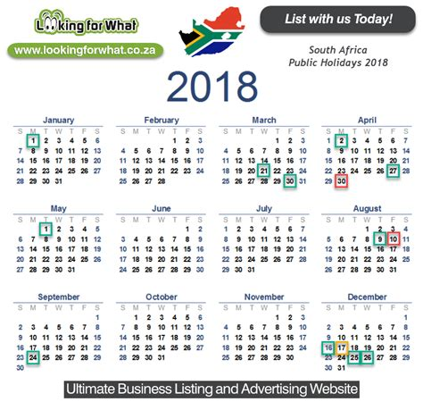 printable calendar 2018 south africa with public holidays south african public holiday calendar 2018 the best