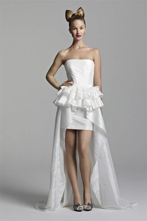 short strapless wedding dress with long train sang maestro