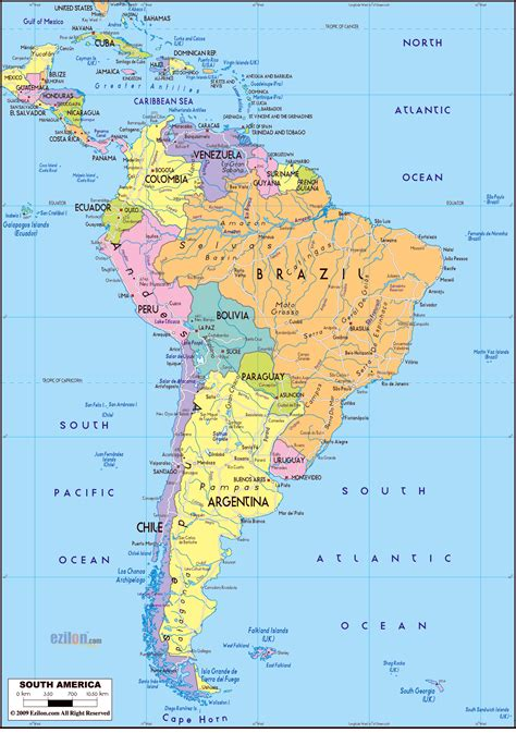 south america physical political map south america other maps