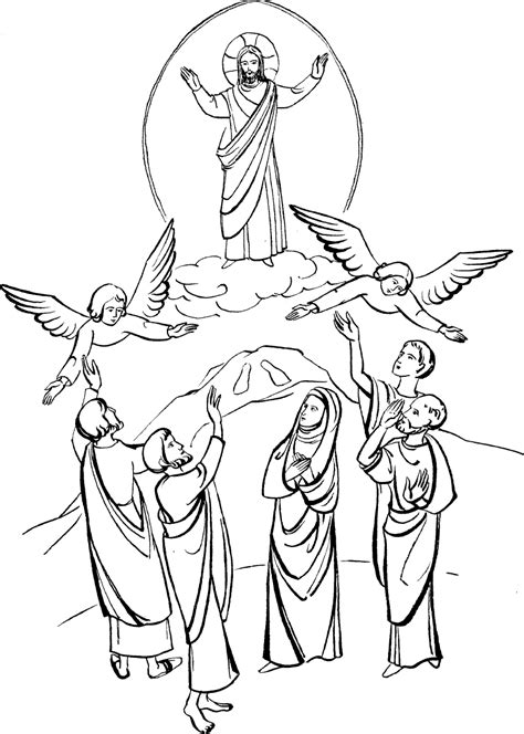 coloring pages jesus ascension ascending to heaven clipart clipart kid