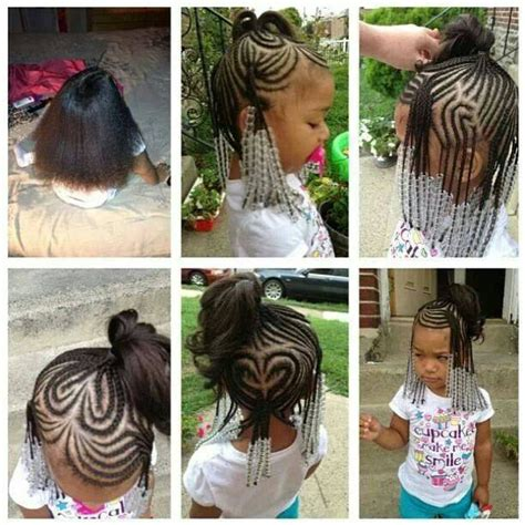 9 year old little girl hair braided witb weave braids beads little girl hairstyles protective