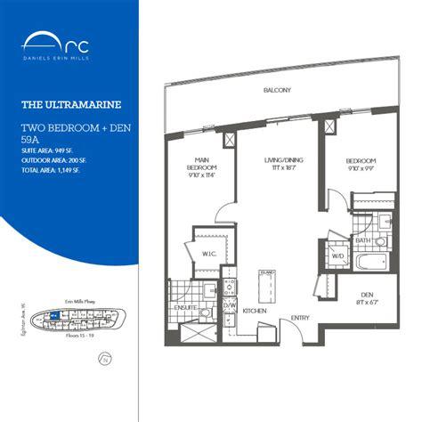 den floor plan the ultramarine 2 bedroom den floor plan daniels arc condos
