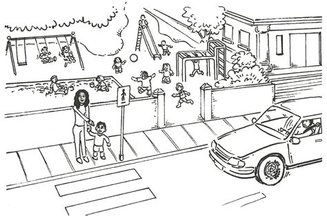 free coloring pages of zebra crossing road