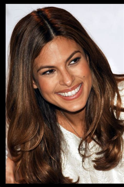 eva mendes chocolate brown hair  subtle highlights