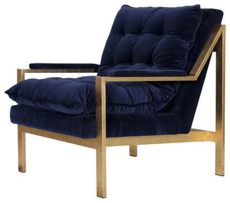 Armchairs And Accent Chairs Worlds Away Cameron Navy And Gold Lounge Chair