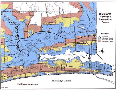 biloxi map evacuation ordered for zones a and b in harrison county