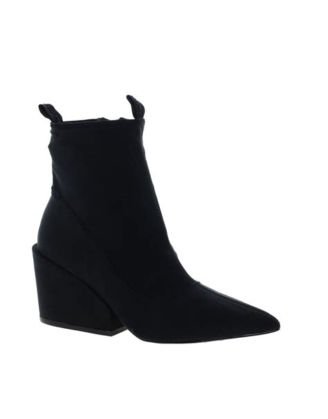 asos cheap monday cube black heeled ankle boots in black
