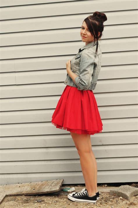 denim red sneakers girl  door red homecoming