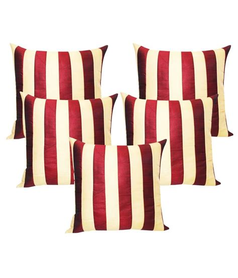 Set Ad Stripe Maroon zikrak exim beige n maroon striped cushion cover 40x40 cms 5 pcs set buy at best price