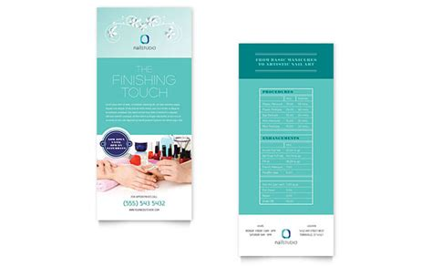free template for 4x9 rack card nail technician rack card template design