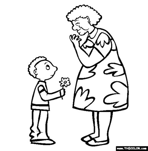 flower for grandma online coloring page