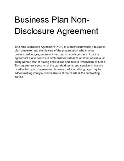 sle business plan product business plan non disclosure agreement template 28