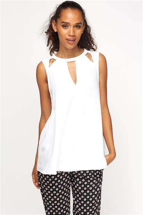 Cutout Sleeveless Top cut out sleeveless top just 163 5