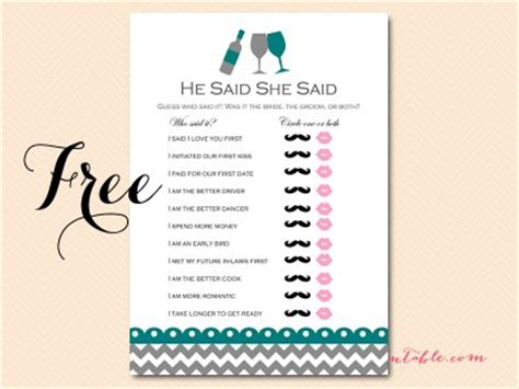 he said she said the 1444797158 free wined themed bridal shower game pack magical printable