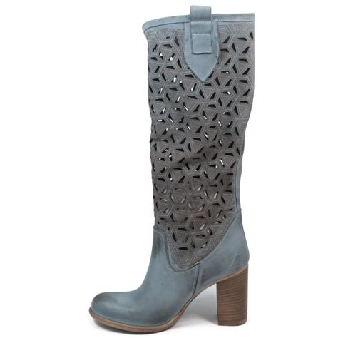 high heel summer high boots laser leather blue made in italy