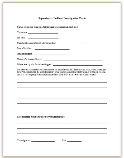 incident investigation template employee questions evaluation 5 free