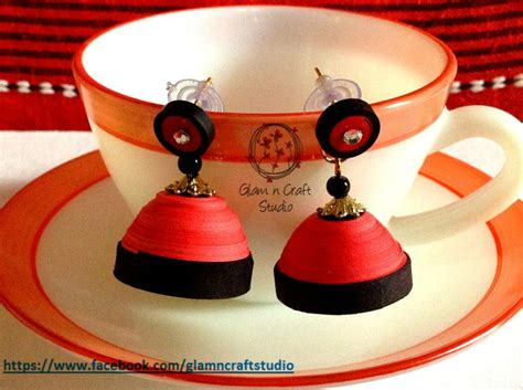 How To Make Paper Jewellery Jhumkas - pink and black quilled jhumka paper jewellery