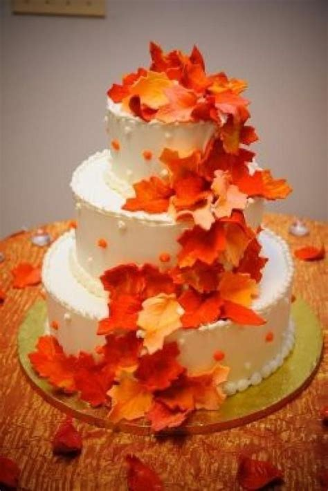 Autumn Leaves Wedding Cake   weddings,parties and event