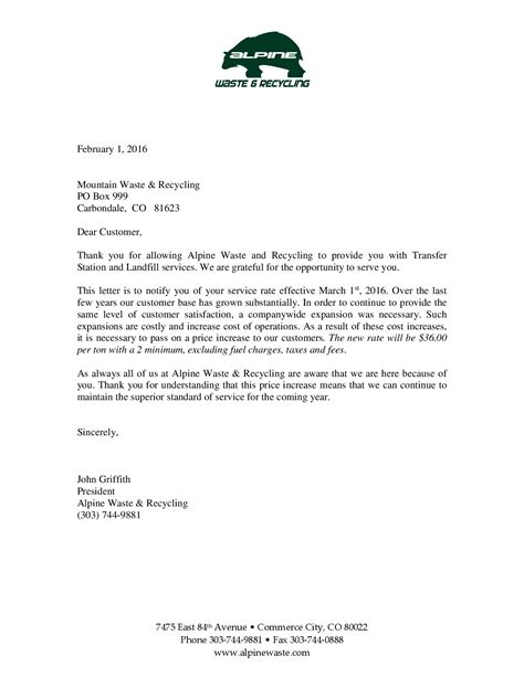 Raise Prices Letter Alpine Waste Processing Fee Increase Letter Mountain Waste Recycling