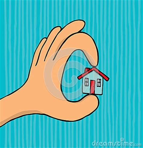 tiny house cartoon hand holding tiny house royalty free stock photos image