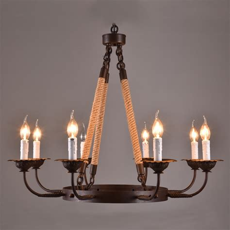 Country Style Chandelier America Style Industry Country Chandelier Hemp Rope L 8