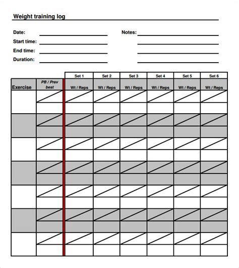 workout log template log template 8 free documents in pdf doc