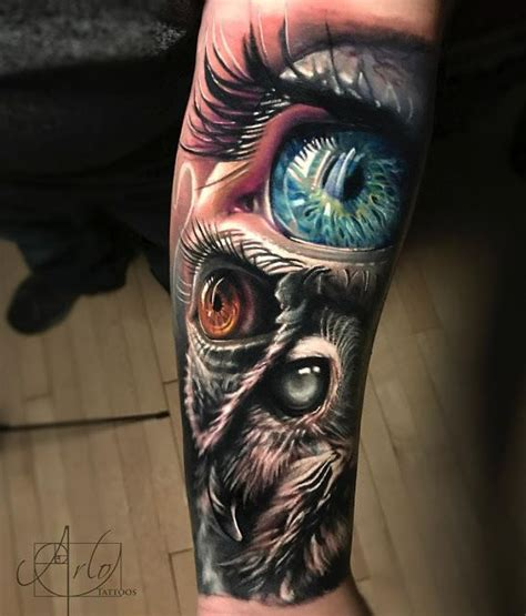 owl amp human eyes best forearm tattoos cool ideas and