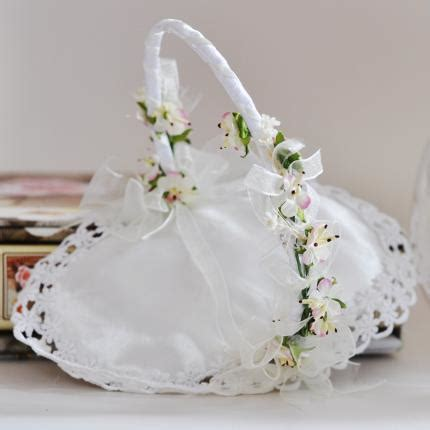 wedding rings basket with gentle flowers decoration kx003