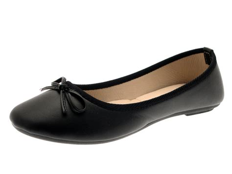 Dolly Black womens ballerina ballet pumps plain work school