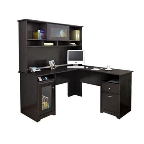 L Shaped Desk With Hutch Walmart Bush Cabot L Shaped Computer Desk With Hutch In Espresso Oak Walmart