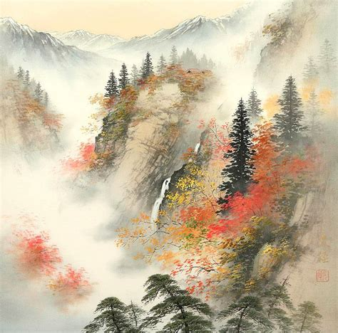 japanese landscape painting koukei kojima 小島光径 the cherry blossoms tutt