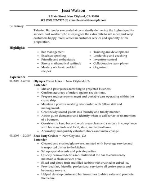 professional bartender example resume templates to showcase your