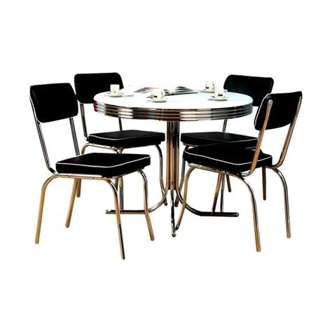 Shop Tms Furniture Retro Black Dining Set With Round Black Dining Table Set