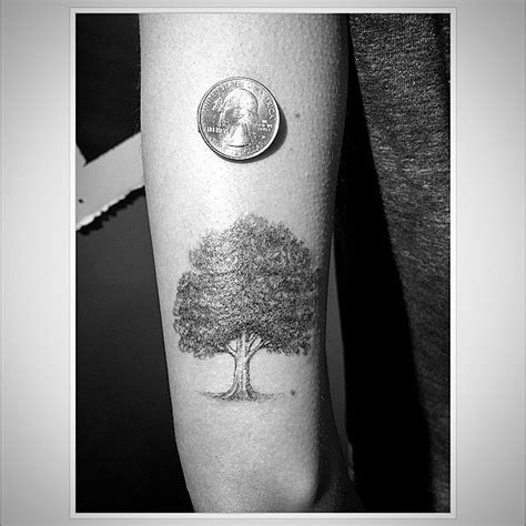 grey  black oak tree tattoo  left bicep