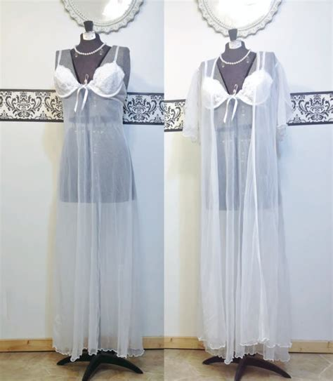 Floor Length Nightgowns by Vintage Sheer White Floor Length Pin Up Nightgown