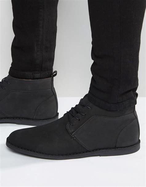 river island river island nubuck leather chukka boots in