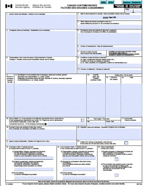 customs invoice template free canada customs commercial invoice template form ci1