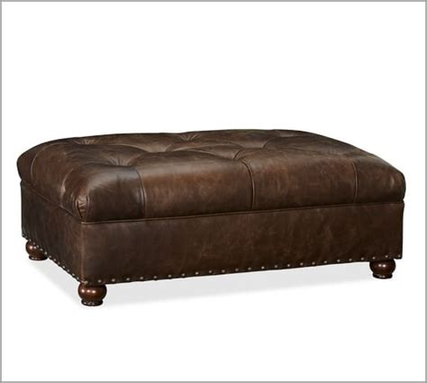 Oliver Leather Ottoman Pottery Barn