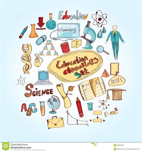 education doodle vector free education doodle colored stock vector image 48281231