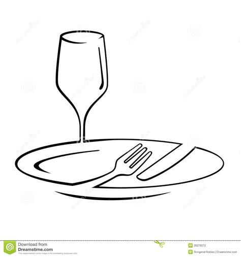 Dinner Line Art stock illustration. Illustration of line