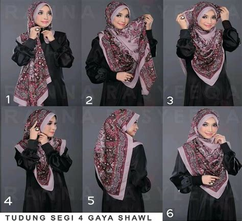 tutorial hijab pashmina cashmere tudung segi 4 gaya shawl hijab pinterest bags