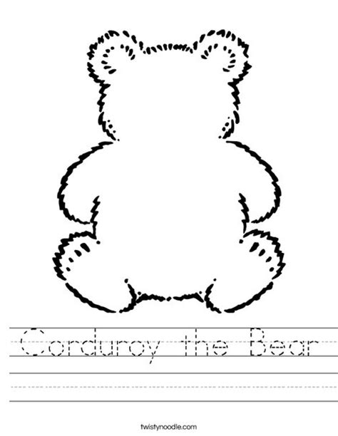 Corduroy The Bear Worksheet Twisty Noodle Corduroy Coloring Page