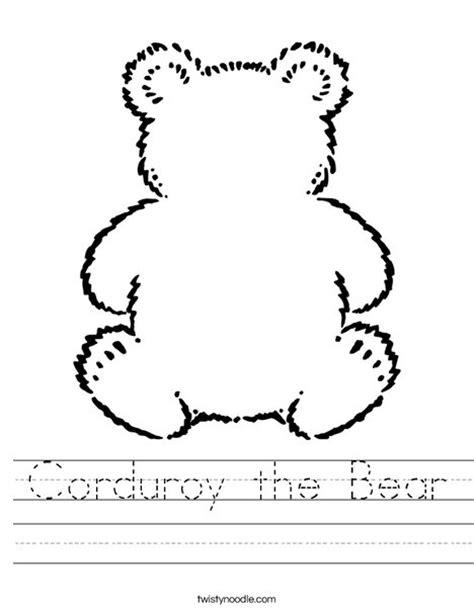 corduroy the bear worksheet twisty noodle