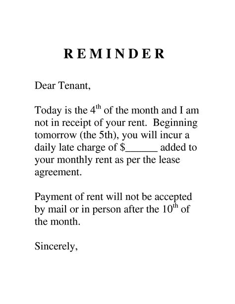 Exle Late Payment Reminder Letter Sle Letter To Tenant For Late Payment Search