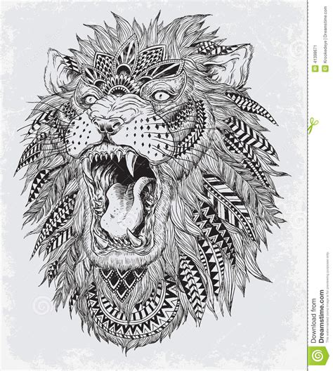 lion pattern tumblr hand drawn abstract lion vector illustration stock vector