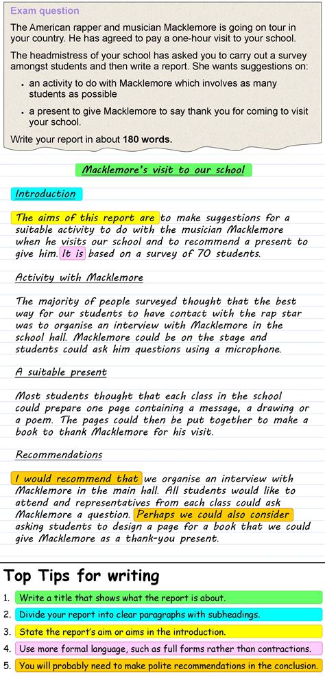Report Writing Exercises by A Report Learnenglish Council