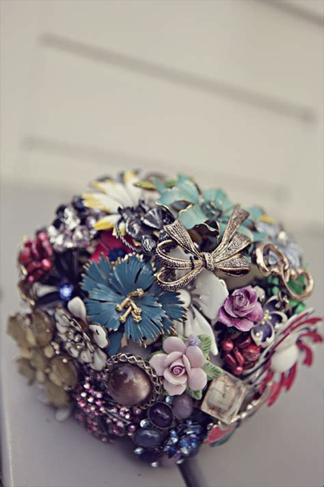 Handmade Brooch Bouquet - vintage wedding bouquet handmade custom vintage brooch