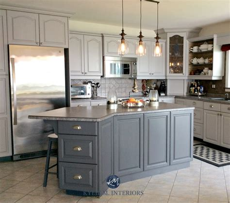 Oak kitchen cathedral cabinets painted Benjamin Moore